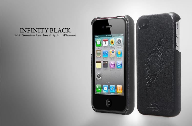 SGP Genuine Leather Grip Infinity Black чехол для iPhone 4 купить цена москва