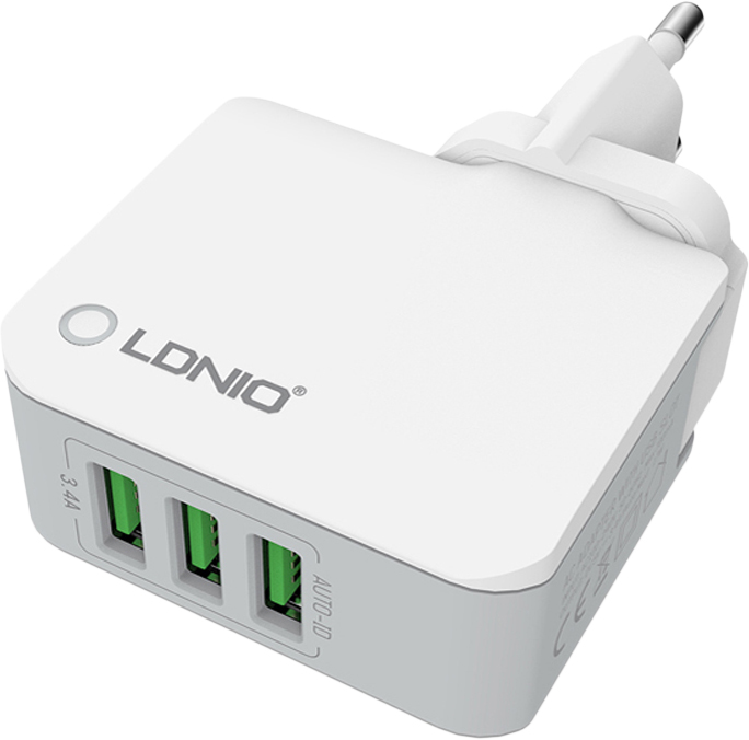 LDNIO 3 USB 3.4 A (A3303) - сетевое зарядное устройство (White) ldnio 3u 1 6 м sc3301 сетевой удлинитель black