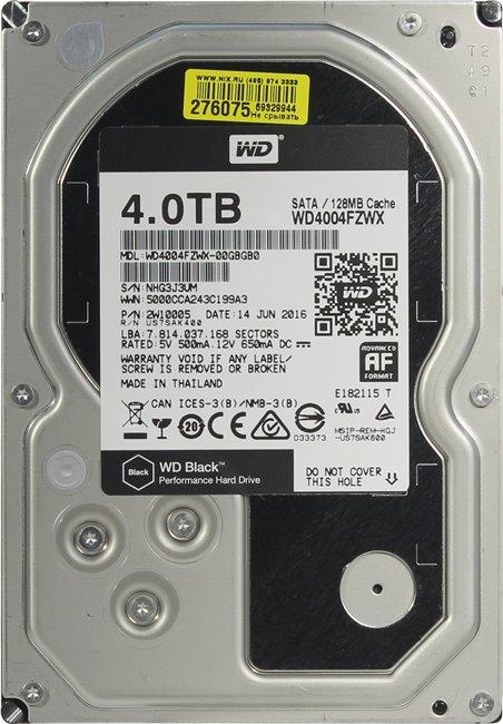 """Western Digital Black HDD 3.5"""" 4Tb (WD4004FZWX) - жесткий диск"""