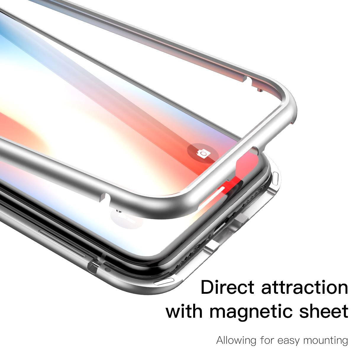 Чехол Baseus Magnetic Hardware Case (WIAPIPH58-CS0S) для iPhone X/Xs (Silver)