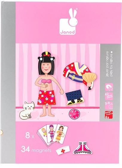 Janod Девочка в одежде (J05546) - магнитная книга-игра (Pink)