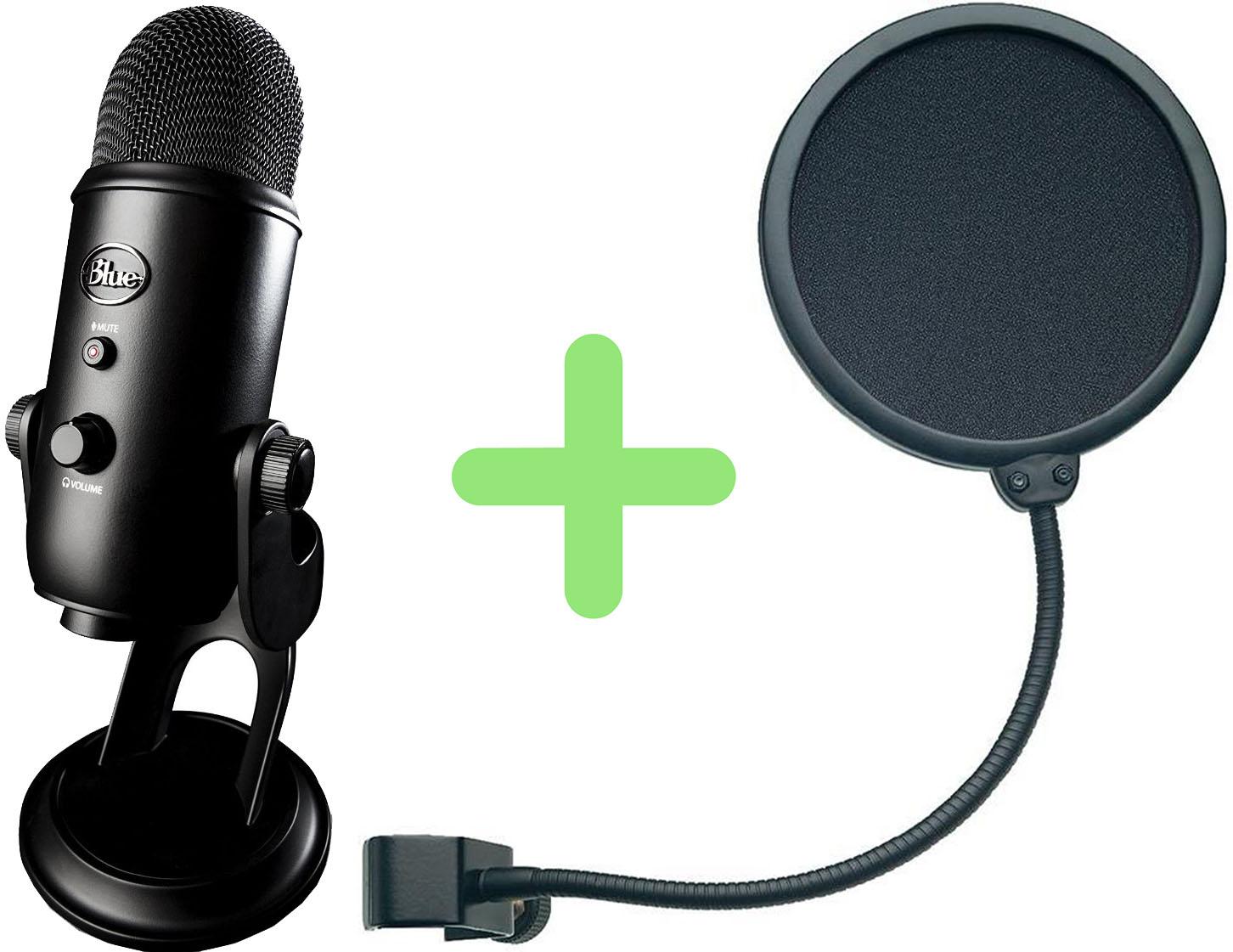 Yeti Blackout+Konig & Meyer 23956-000-55 - конденсаторный микрофон+поп-фильтр (Black/Black)