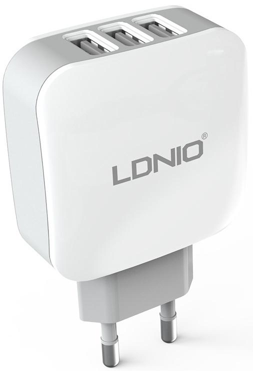 LDNIO 3 USB 3.4 A (DL-AC70) - сетевое зарядное устройство (White) ldnio 3u 1 6 м sc3301 сетевой удлинитель black