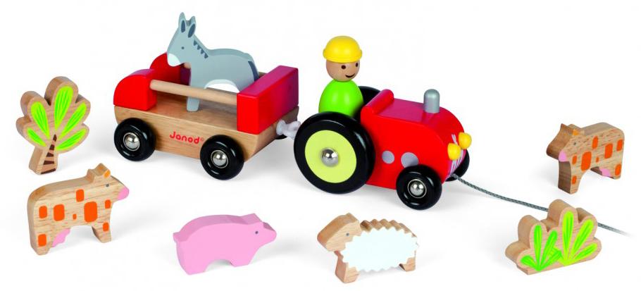 Трактор с животнымиРазвивающие игрушки<br>Каталка на веревочке<br>