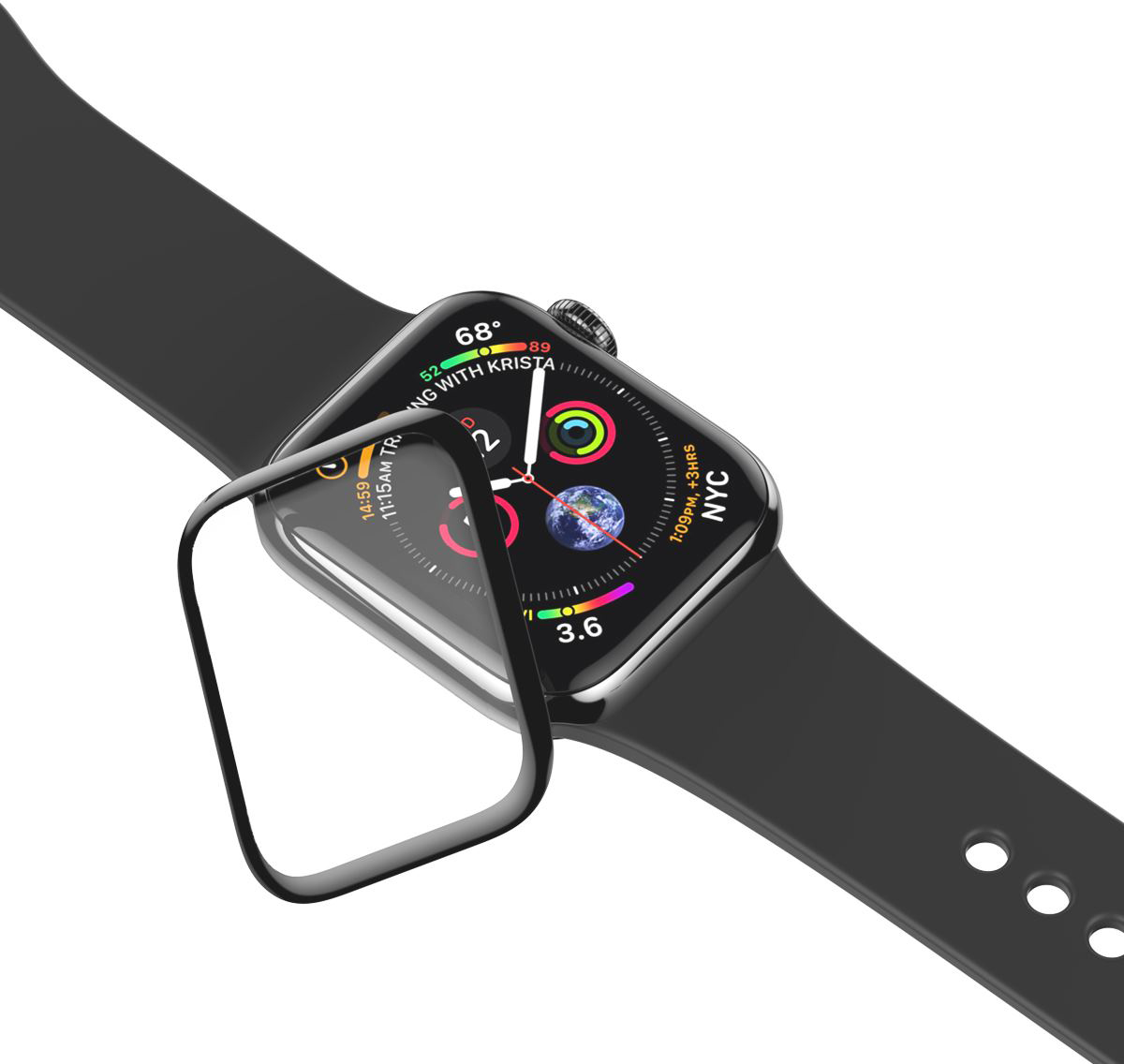 Защитное стекло uBear 3D (GL29BL42-AW3) для Apple Watch Series 3 42mm (Black)