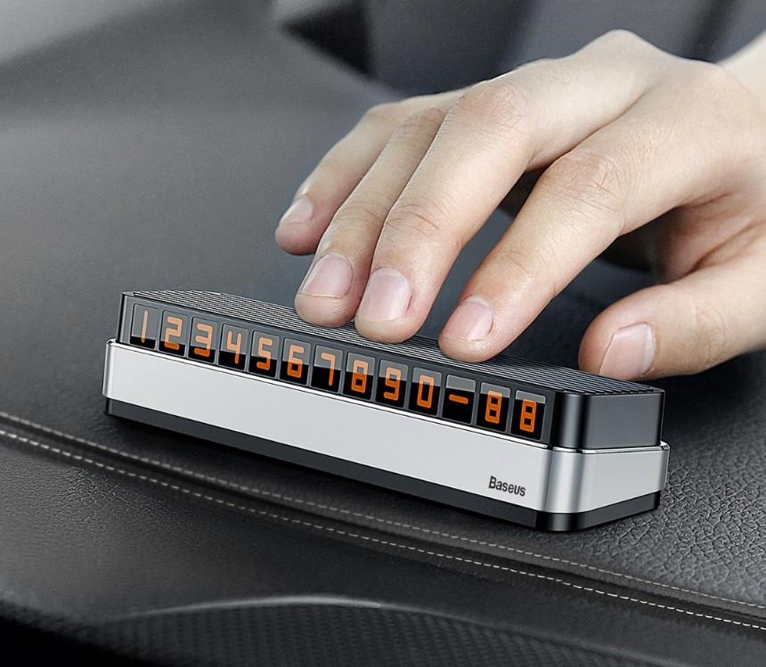 Парковочная карта Baseus Moonlight Box Series Temporary Parking Number Plate для номера телефона (Silver)
