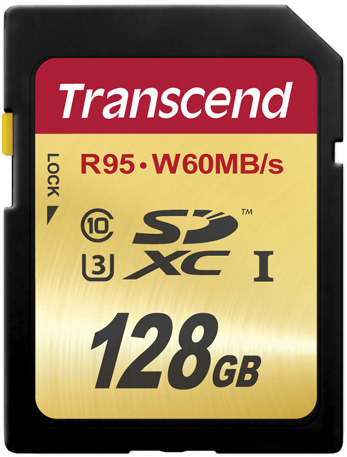 Transcend SDXC Ultimate Class 10 U3 UHS-I 128Gb (TS128GSDU3) - карта памяти (Gold)