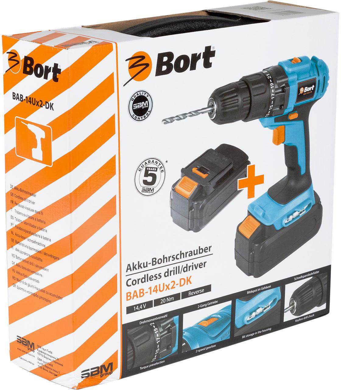 Купить Bort BAB-14Ux2-DK (93724009) - дрель-шуруповерт (Blue), Борт БиЭйБи-14Ух2-ДиКей 93724009 в Москве с доставкой по разумной