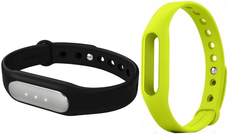 Купить Xiaomi Mi Band фитнес-браслет + сменный ремешок (Black/Green)