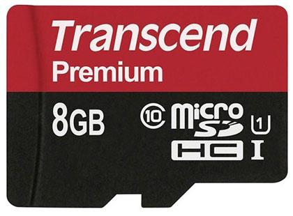 Transcend microSDHC Class 10 UHS-I 400x 8Gb (TS8GUSDCU1) - карта памяти (Red)