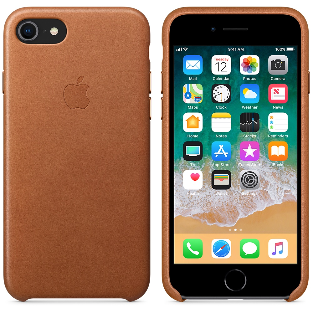 Apple Leather Case iPhone 7/8 Saddle Brown
