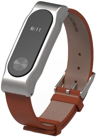 Xiaomi Leather Wristband - сменный ремешок для Xiaomi Mi Band 2 (Silver/Brown)Трекеры активности и шагомеры<br>Сменный ремешок<br>