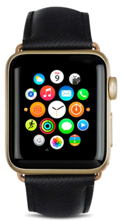 Сменный ремешок Dbramante1928 Mode Madrid (AW42NBGO5146) для Apple Watch 42 mm (Night Black)