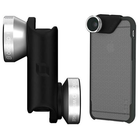 Объектив Olloclip 4-in-1 Lens OC-0000115-EU (Silver Lens/Black Clip) + чехол OlloCase for iPhone 6 Plus (Clear/Dark Gray) 3 in 1 fish eye macro wide angle clip lens white black