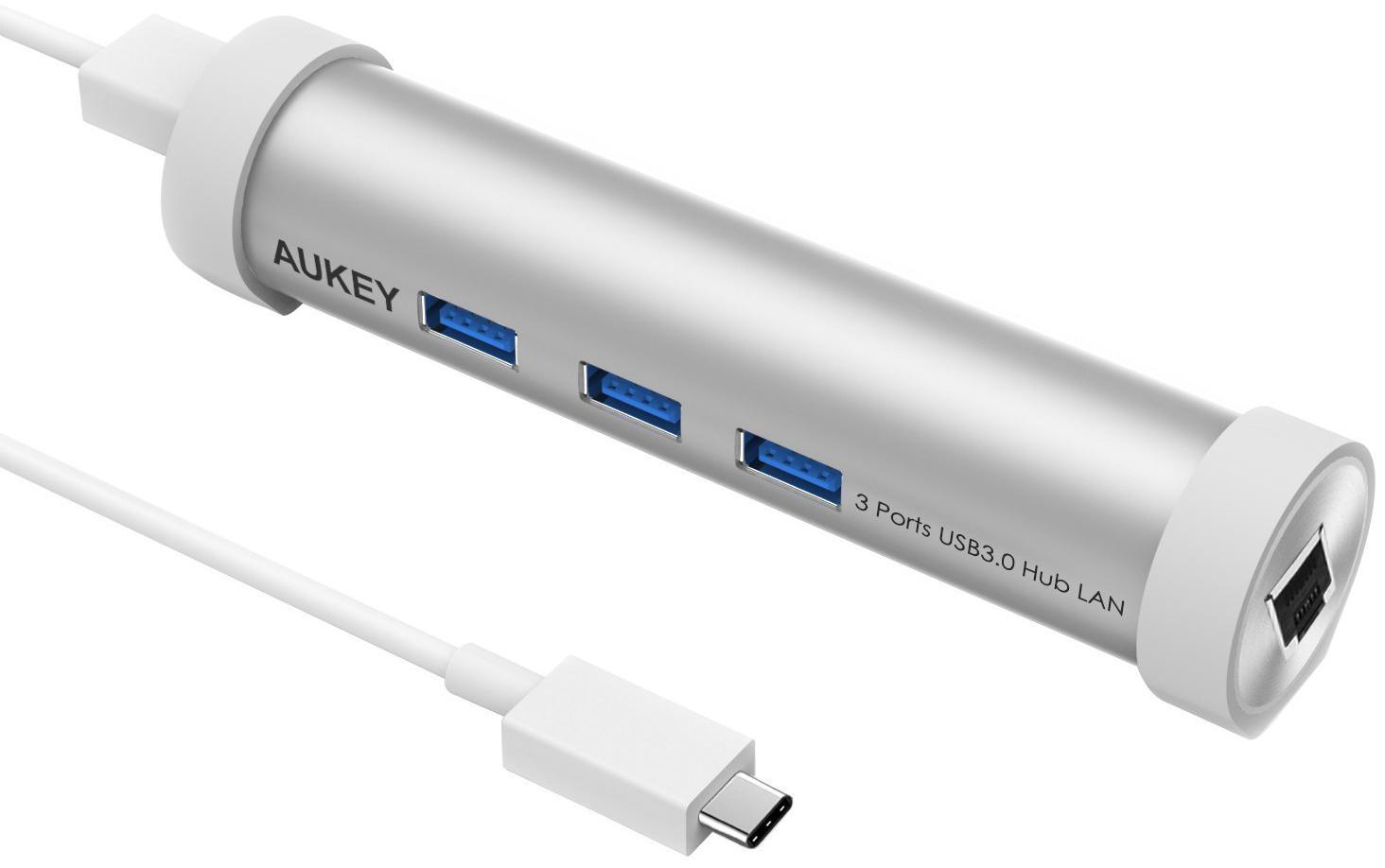 Aukey USB-C Ethernet Hub - хаб 4 в 1 (Silver)