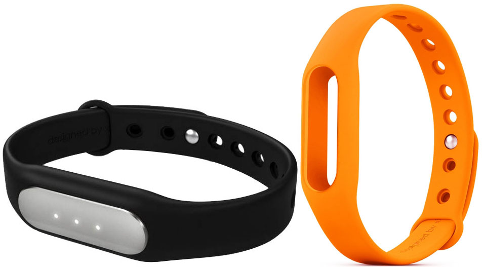 Купить Xiaomi Mi Band фитнес-браслет + сменный ремешок (Black/Orange)
