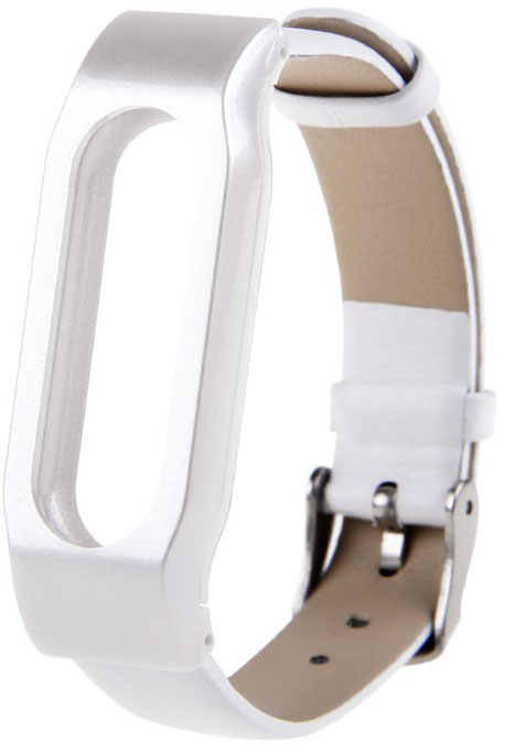 Xiaomi Leather Wristband - сменный ремешок для Xiaomi Mi Band (Silver/White)