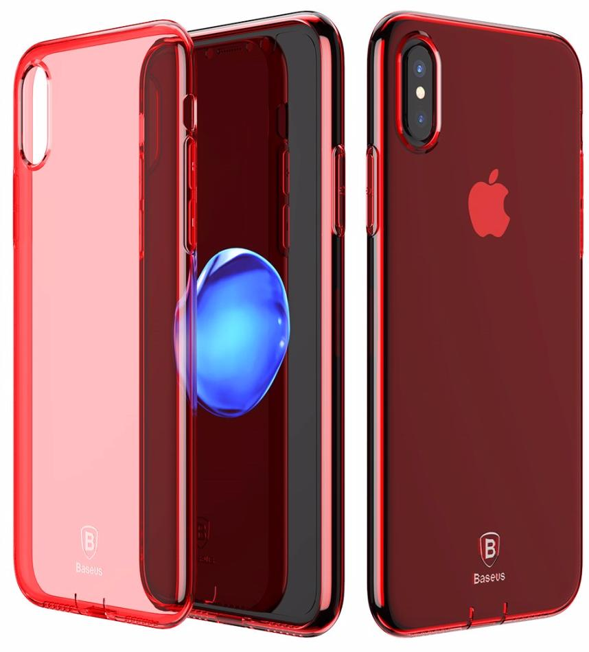 Чехол Baseus Simple Series Case Pluggy (ARAPIPHX-A09) для Apple iPhone X (Transparent Red)