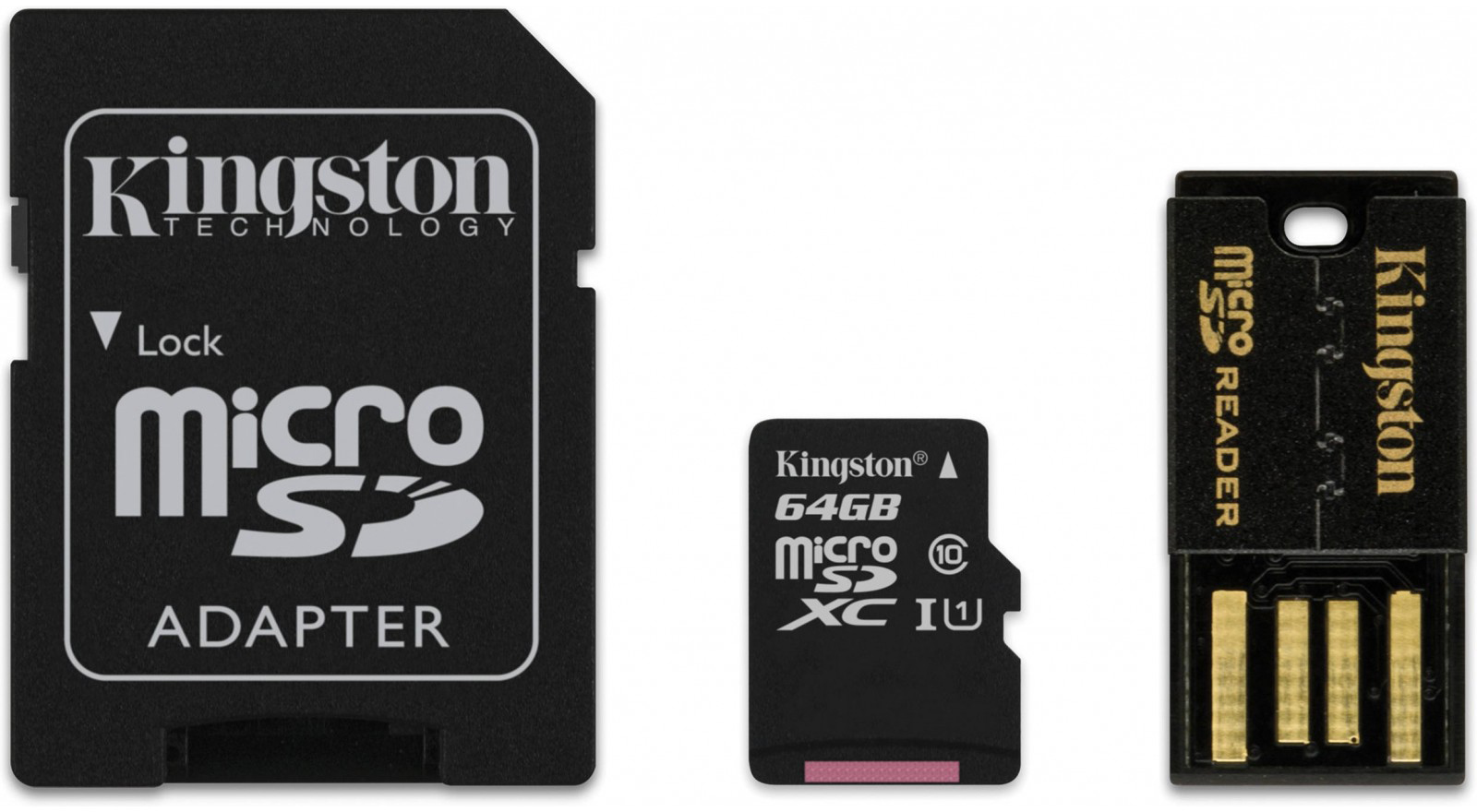 Kingston microSDXC 64Gb Class 10 U1 UHS-I (MBLY10G2/64GB) - карта памяти с адаптером и USB-картридером