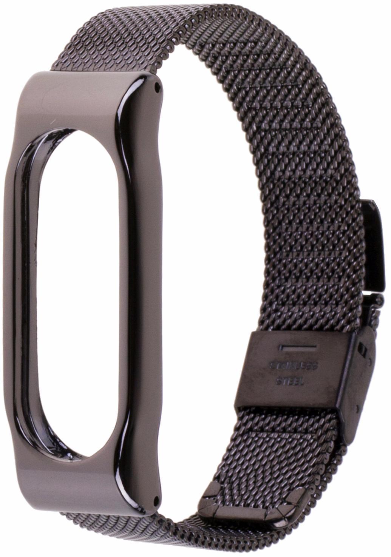 Xiaomi Milanese Metal Wristband - сменный ремешок для Xiaomi Mi Band 2 (Black/Grey)