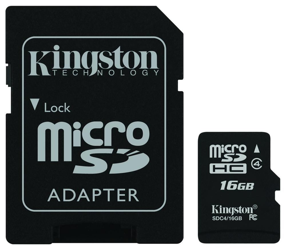 Kingston microSDHC Class 16 4Gb (SDC4/16GB) - карта памяти с адаптером (Black) kingston microsdhc class 16 4gb sdc4 16gb карта памяти с адаптером black