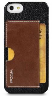 Vetti Prestige Series Leather Snap Card Holder (IPO5LESCHBKLC2) - чехол для iPhone 5/5S/SE (Black/Brown Wax Leather)