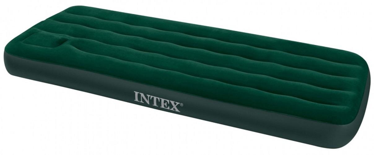 Intex Downy Bed (с66950) - надувной односпальный матрас со встроенным ножным насосом (Green)