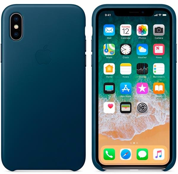 Чехол Apple Leather Case (MQTH2ZM/A) для Apple iPhone X (Cosmos Blue)