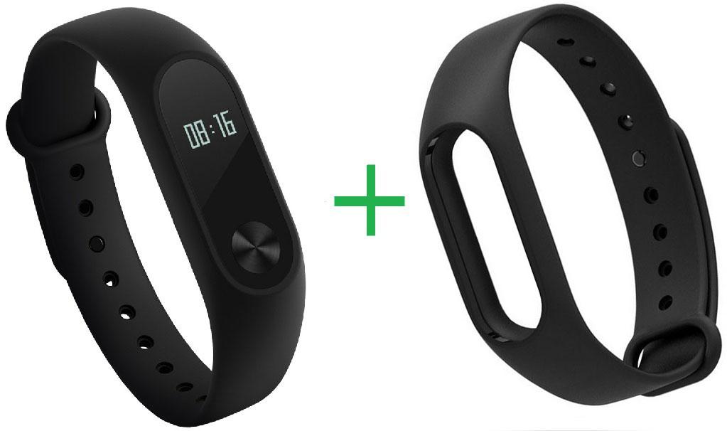Купить Фитнес-браслет Xiaomi Mi Band 2 + сменный силиконовый ремешок (Black)
