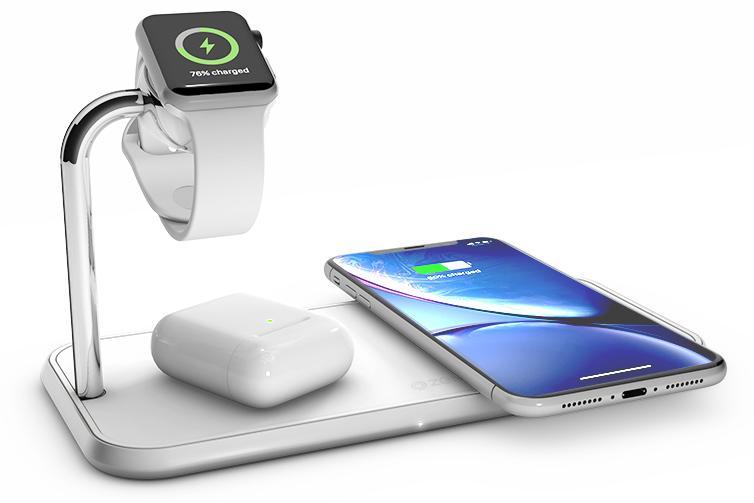 Беспроводное зарядное устройство Zens Dual+Watch Aluminium Wireless Charger ZEDC05W (White)