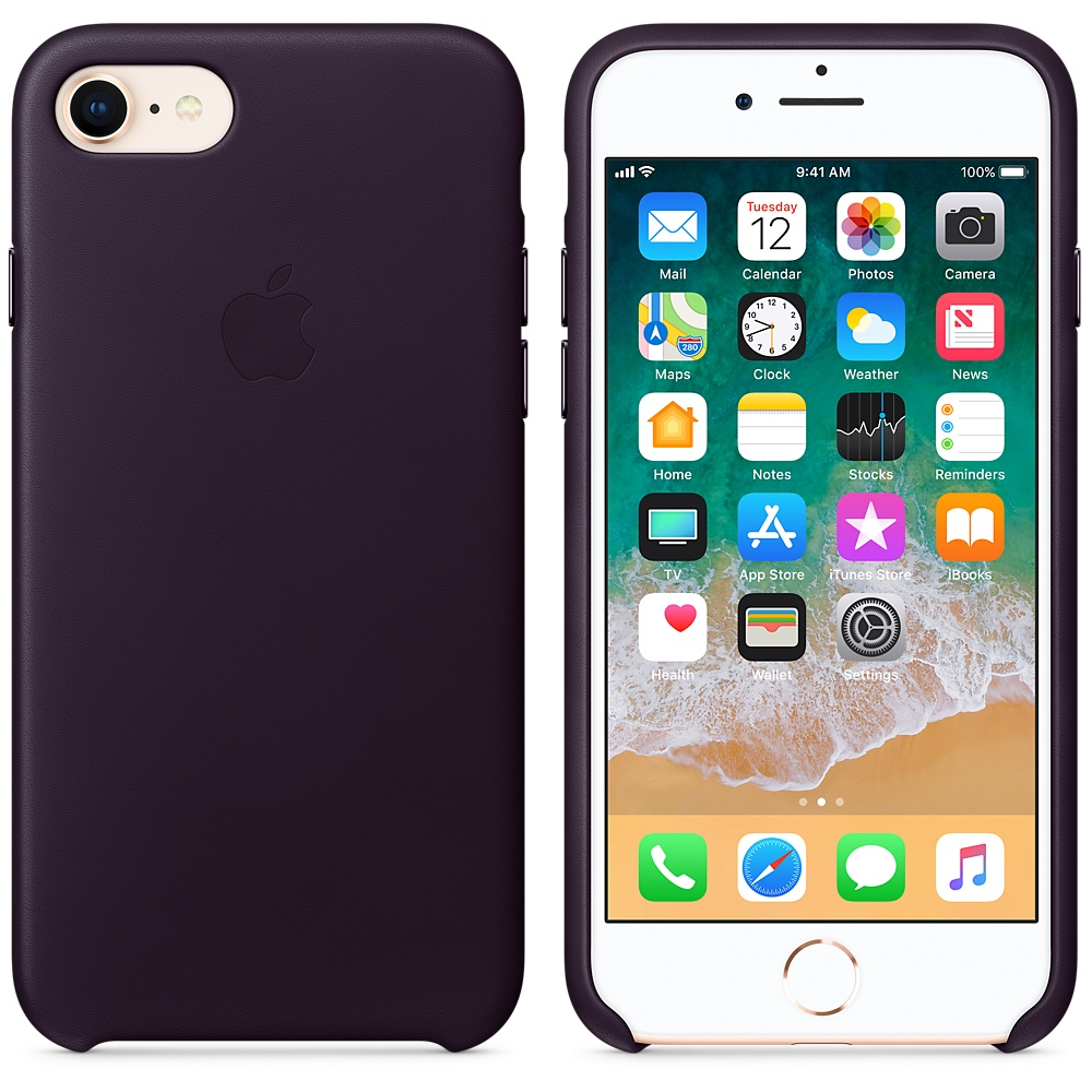 Чехол-накладка Apple Leather Case (MQHD2ZM/A) для iPhone 7/8 (Dark Aubergine)