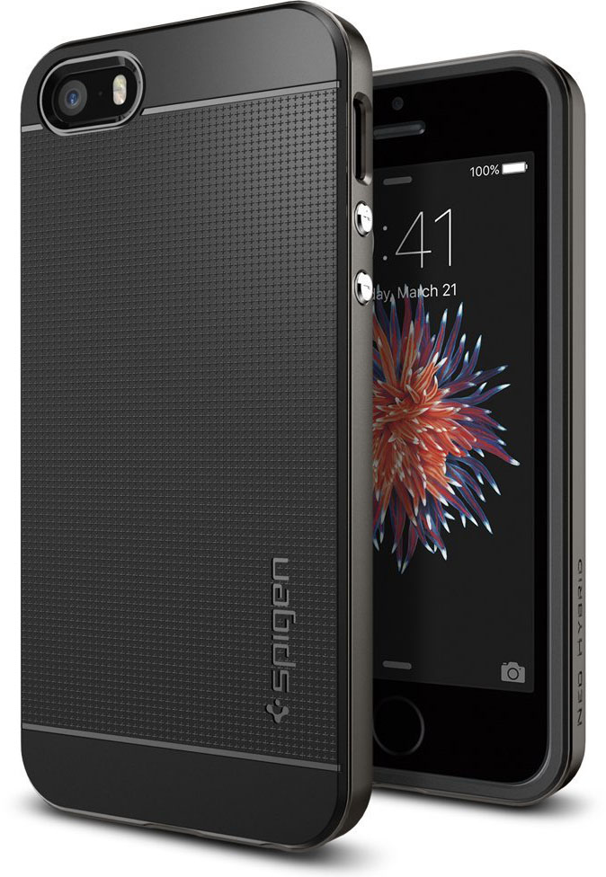 Spigen Neo Hybrid (041CS20184) - чехол для iPhone 5/5s/SE (Gunmetal)