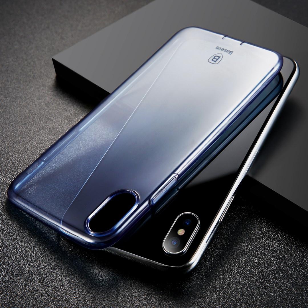 Чехол Baseus Simple Series Case Pluggy (ARAPIPHX-A03) для Apple iPhone X (Transparent Blue)