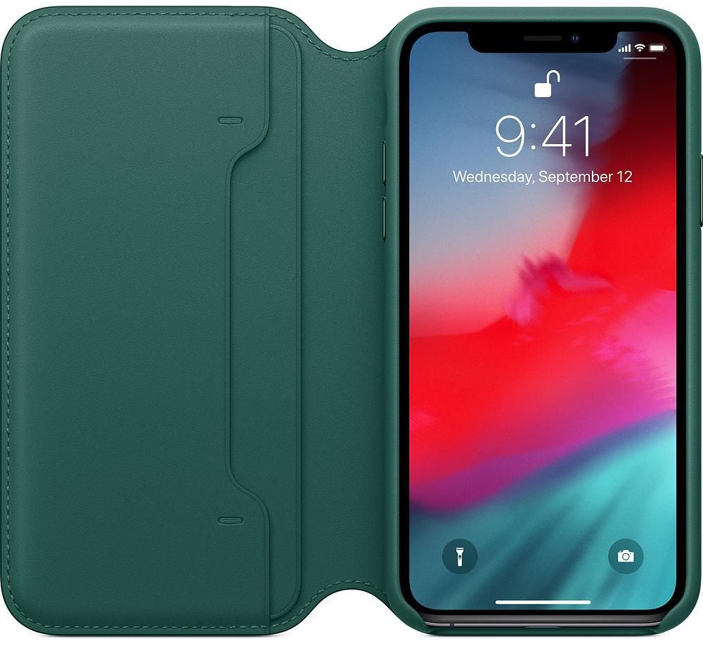 Чехол Apple Leather Folio (MRWY2ZM/A) для iPhone Xs (Forest Green)