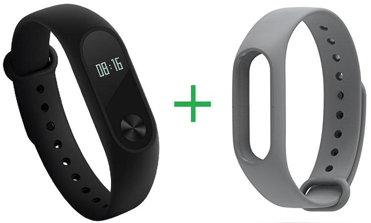 Купить Xiaomi Mi Band 2 фитнес-браслет + сменный ремешок (Black/Grey)