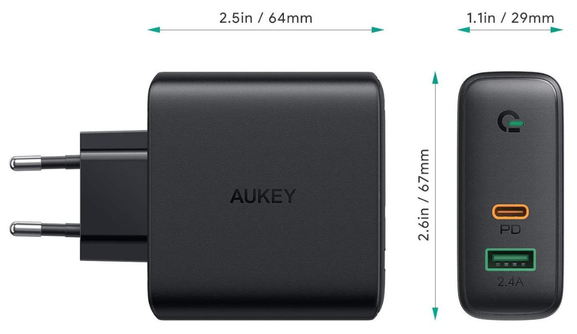 Aukey Dual-Port 60W PD Wall Charger with Dynamic Detect