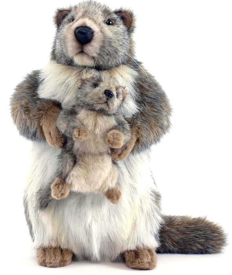 Hansa Сурок с детенышем (4162) - мягкая игрушкаМягкие игрушки<br>Мягкая игрушка<br>