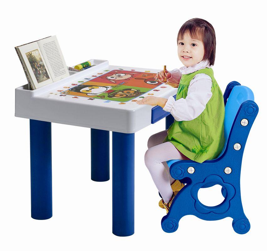 Haenim Toy DS-906 (HN-904) - стол и стул (Light Blue/Blue)Игровые столы и стулья<br>Комплект мебели<br>