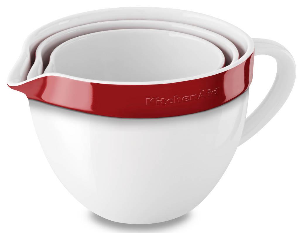 Ceramic 3-Piece Nesting kitchenaid набор круглых чаш для запекания смешивания 1 4 л 1 9 л 2 8 л 3 шт черные