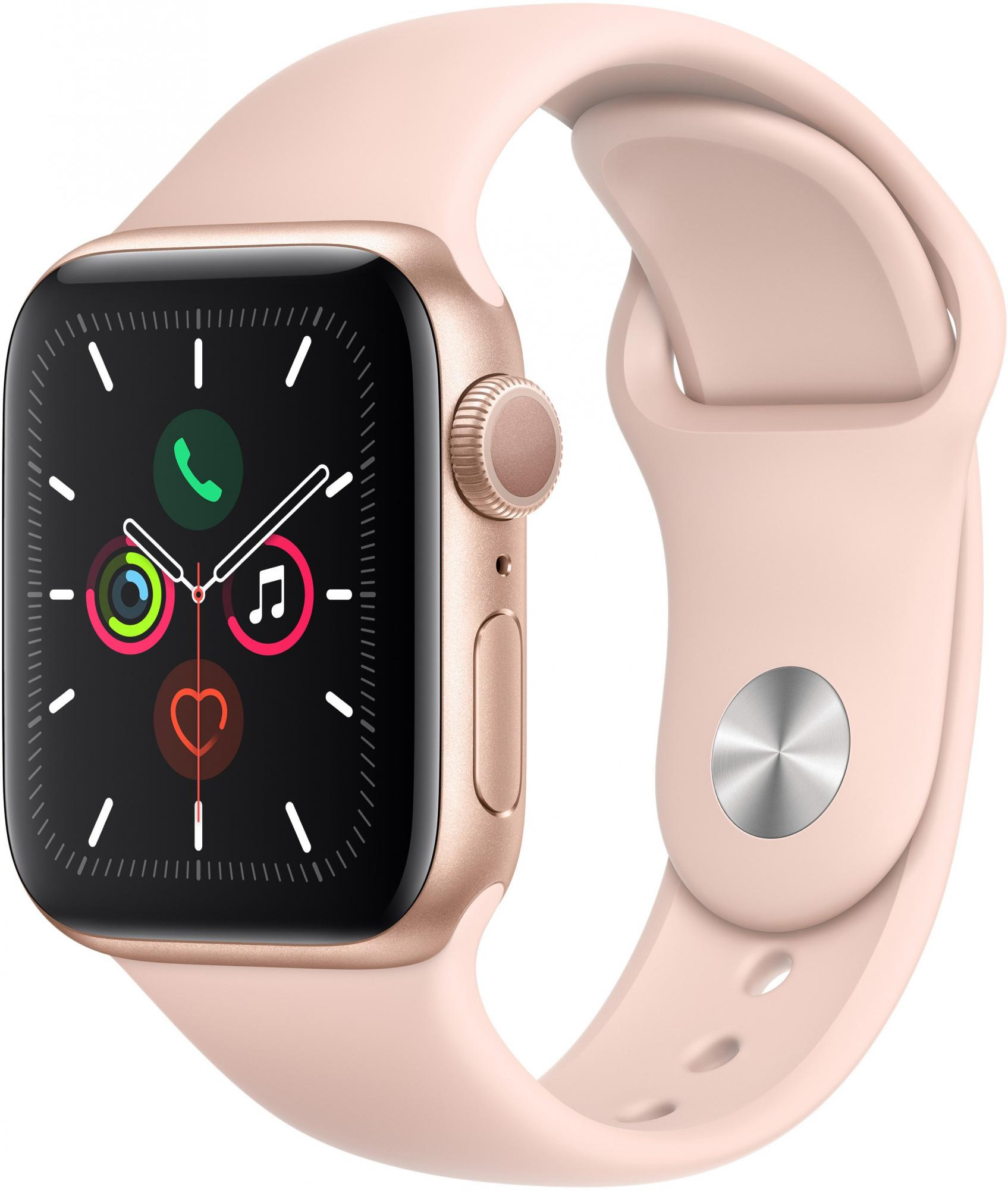 Умные часы Apple Watch Series 5 44mm Sport Band MWVE2RU/A (Gold/Pink) фото