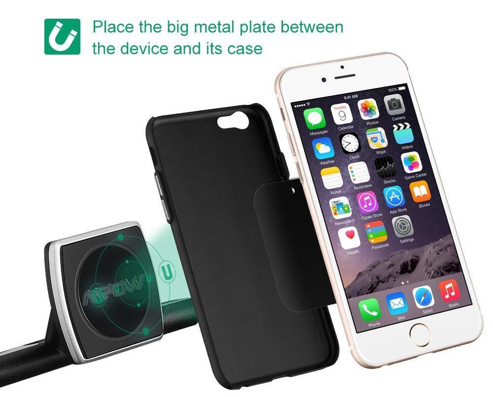 Универсальный магнитный держатель в CD слот для смартфонов Mpow Magnetic 360 Swivel (Black)