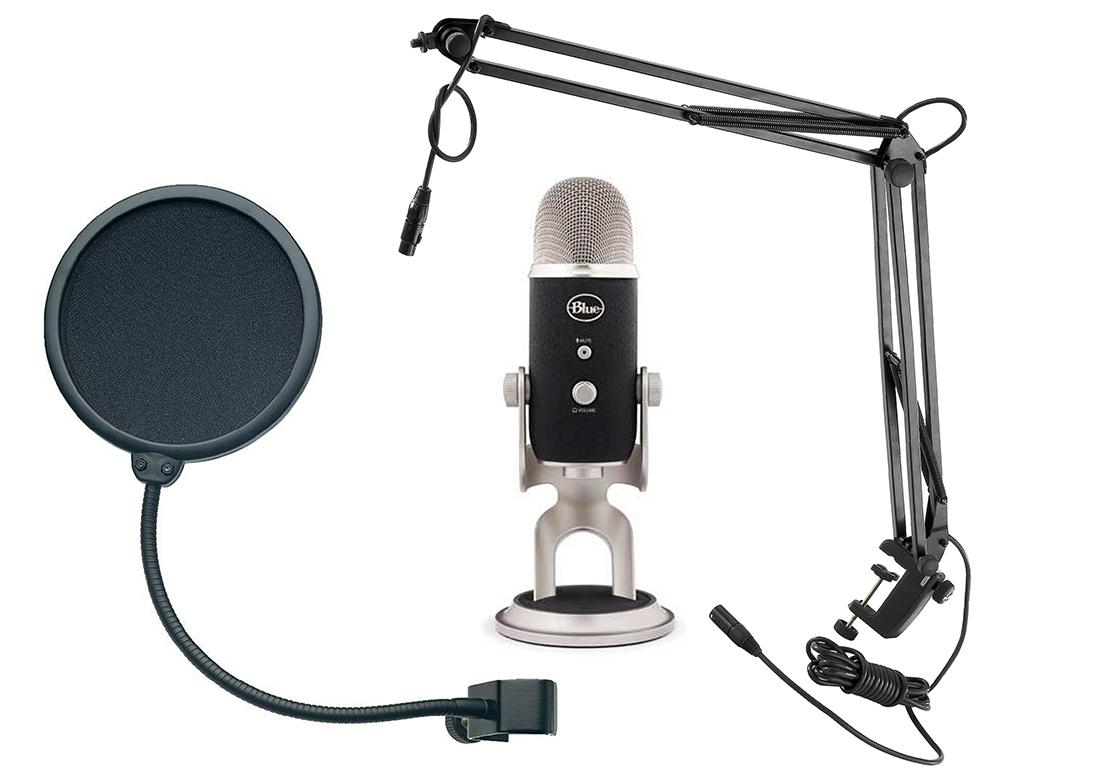 Blue Microphones Yeti Pro + микрофонная стойка Konig & Meyer 23850-311-55 + поп-фильтр Konig & Meyer 23956-000-55