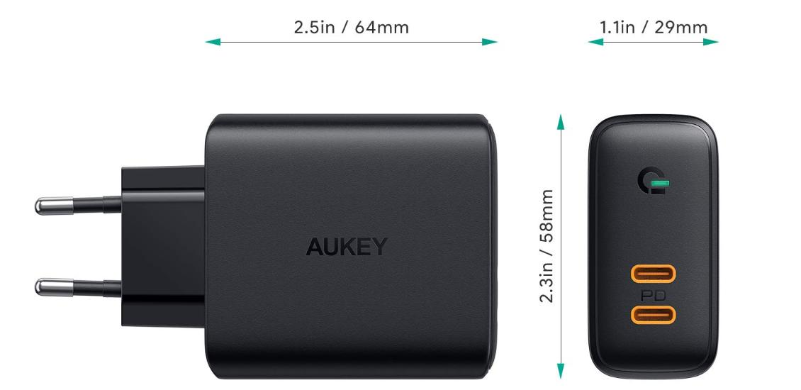 Aukey Dual-Port 36W PD Wall Charger with Dynamic Detect