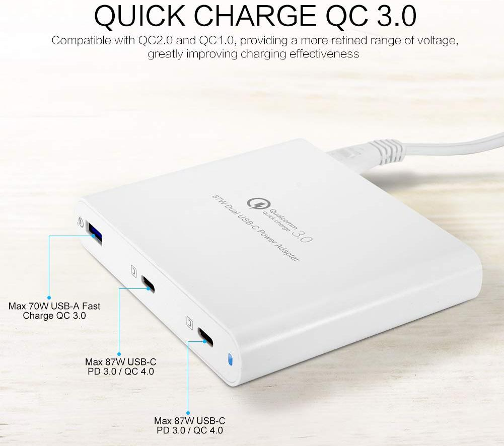 Сетевое зарядное устройство HyperDrive HyperJuice 87W USB-C/USB 3.0 HJ-PD87 (White)