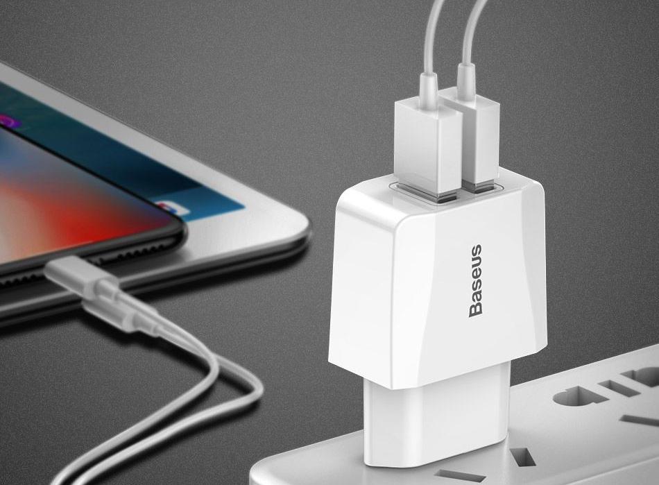 Сетевое зарядное устройство Baseus Mini Dual-U Charger (CCALL-MN02) 2xUSB 2.1A (White) купить в интернет-магазине icover