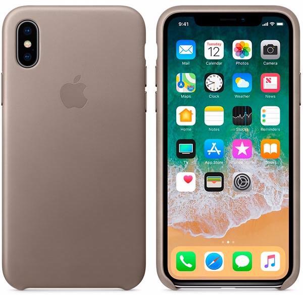 Чехол Apple Leather Case (MQT92ZM/A) для Apple iPhone X (Taupe)