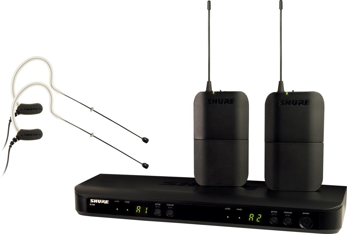 Shure BLX188E/MX53 K3E - двухканальная радиосистема с двумя головными микрофонами MX153 (Black) A045801