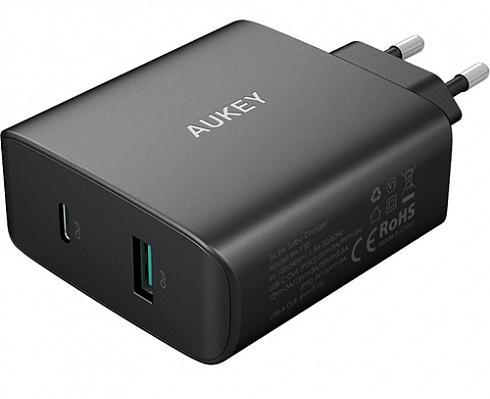 Сетевое зарядное устройство Aukey Amp USB-C Wall Charger Power Delivery 3.0 PA-Y10 (Black)