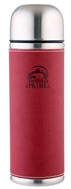 Арктика 0,7 л (108-700) - термос с узким горлом и кожаной вставкой (Красный)Термосы и термокружки<br>Термос с узким горлом и кожаной вставкой<br>