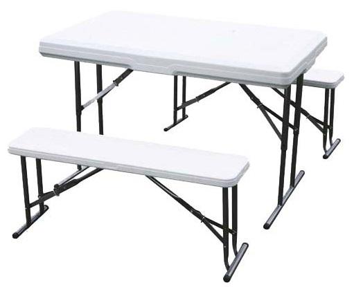 Green Glade (B113) - набор из складного стола и двух скамеек (White) от iCover